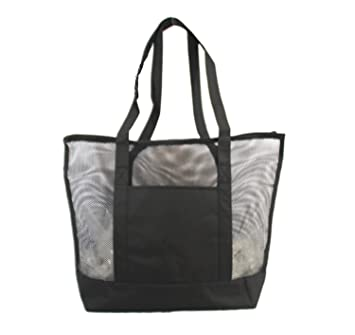 Amazon.com: Xtitix Deluxe Mesh Beach Tote Bag with Zippered, Black ...