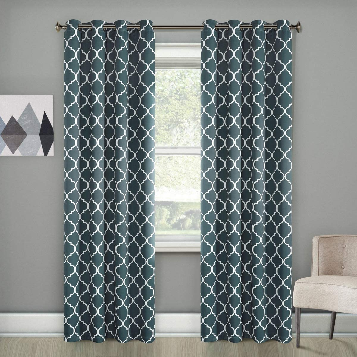 Dreaming Casa Gray Blackout Curtains White Moroccan Draperies Thermal Insulated Grommet Top Two Panels 100 W x 108 L