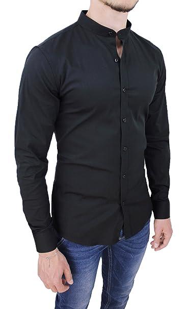 2cf464e6e8 AK collezioni Camicia Uomo Cotone Slim Fit Nero Casual Elegante con  Colletto Coreana