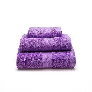 Sancarlos - Juego de 3 toallas YANAI, 100% Algodón, Color Morado: Amazon.es: Hogar