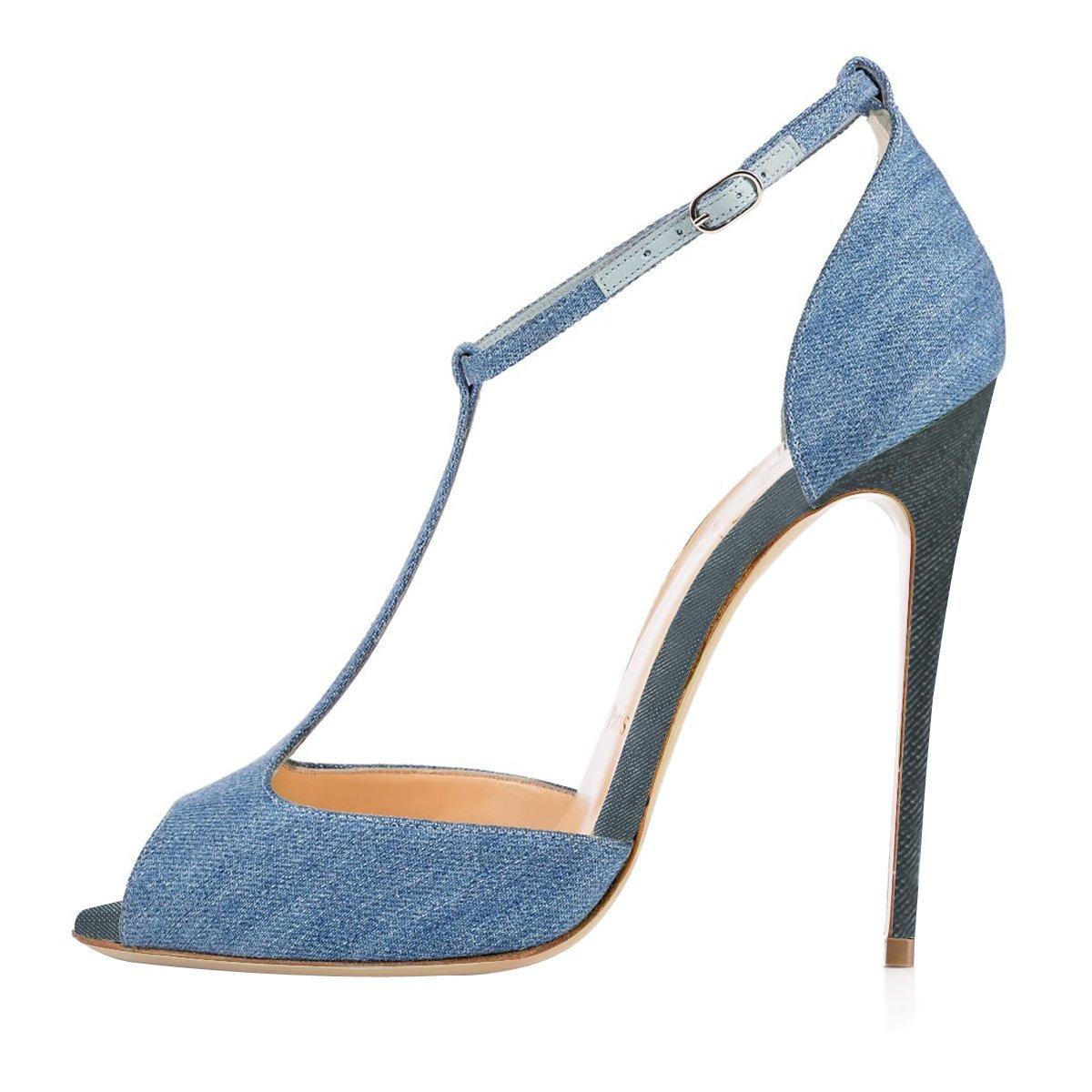 4c099afda26fdd Onlymaker Damen Sandalen High Heels Stiletto mit Fesselriemen T-Spangen  Peep Toe Sommer Schuhe Denim Blau EU45  Amazon.de  Schuhe   Handtaschen