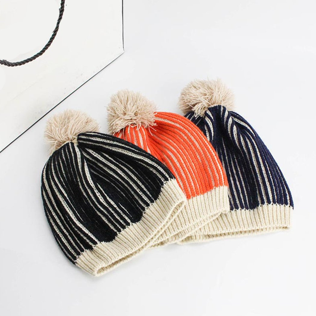 Raylans Kids Knitted Striped Warm Beanie with Yarn Pompom for Baby Infant