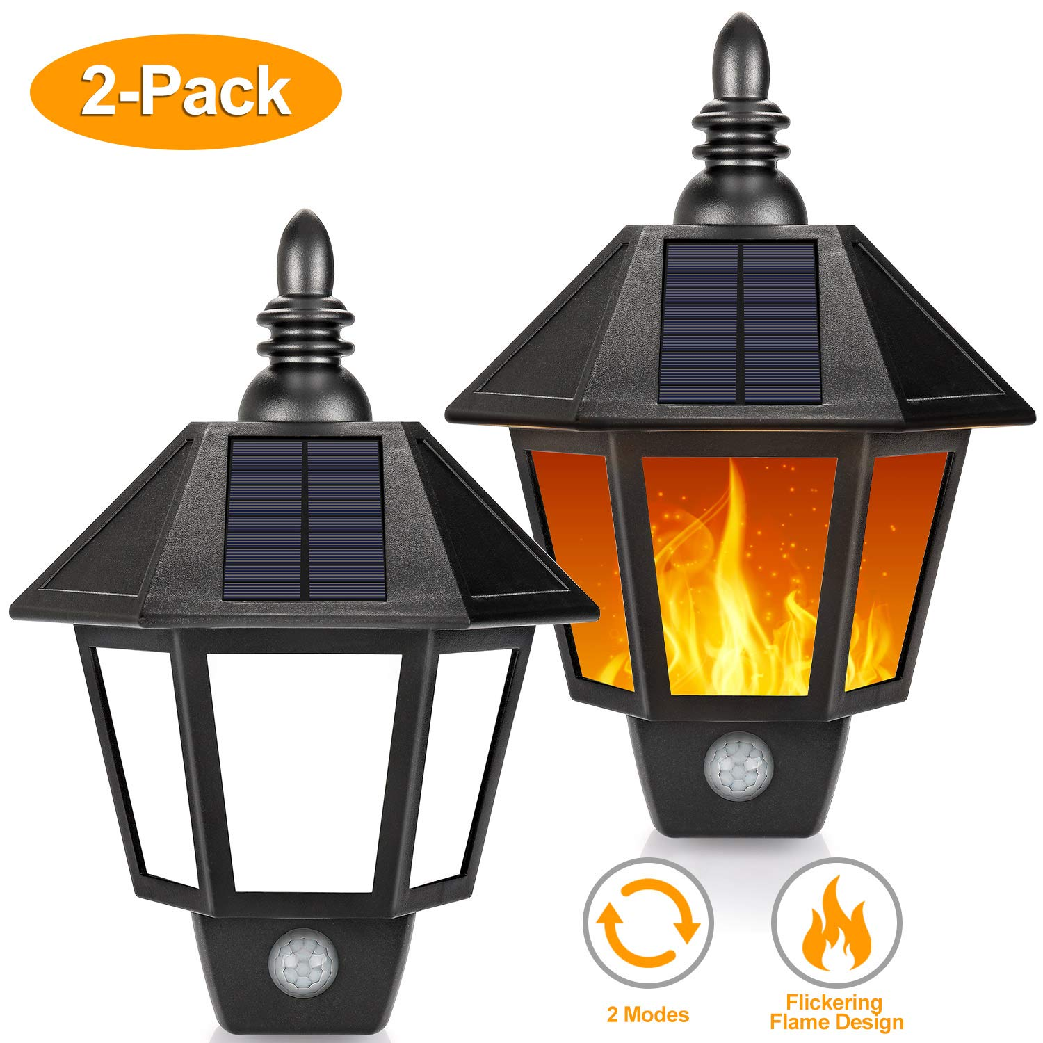 Solar Wall Lights Outdoor Motion Sensor, 2 in 1 Sconce Decorative Solar Lights with Flickering Flame Design, Wireless Waterproof Flame Solar Lights for Garden, Patio, Garage, AA Battery Included