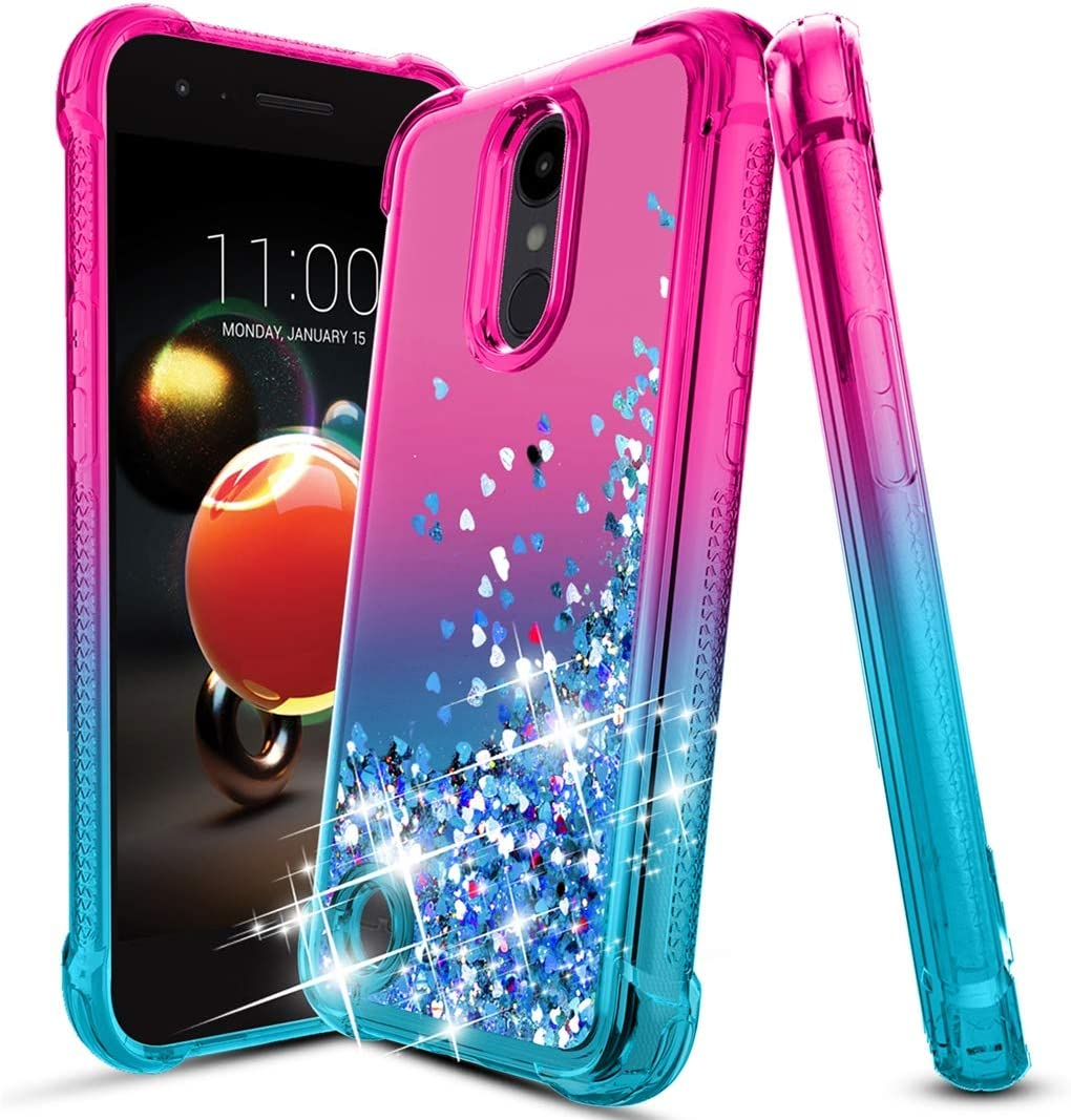 LG Aristo 2 Case,LG Aristo 3/2 Plus/Aristo 3+/Rebel 4 LTE/Fortune 2/Phoenix 4/Tribute Dynasty/Zone 4/K8/K8+ Plus/Tribute Empire Case,Bling Glitter Phone Cover for Girls Women,Pink/Teal (Pink/Teal)