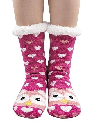 Mujer Calcetines Tipo Pantuflas Con Suela ABS Antideslizante, Invierno Zapatillas Calcetines Térmicos Acogedores y Suaves