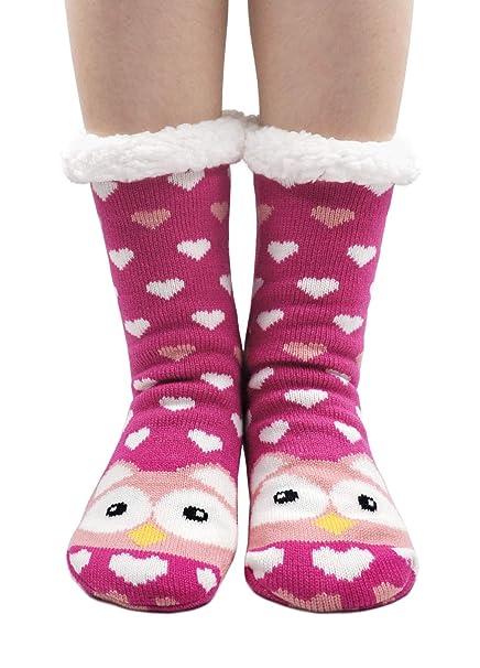 PUTUO Pantuflas Mujer Gruesos Calcetines de piso casa abrigados Invierno Térmico Calcetines, Mujer Antideslizante Calientes