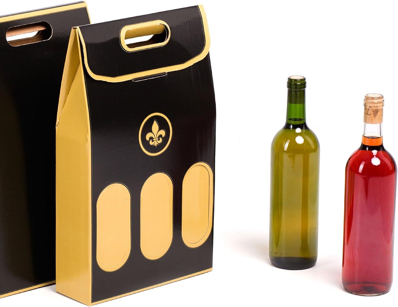 10x) Estuche para 3 Botellas de Vino especial Regalos Navidad. Automontable con Asas. | TeleCajas.com: Amazon.es: Oficina y papelería