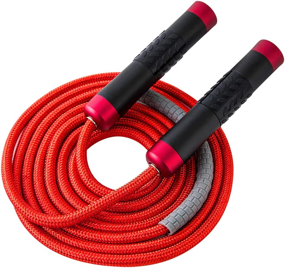 1LB OXIVE Weighted Jump Rope - Gym /& Home Fitness Workouts /& More Solid 9mm Diameter Adjustable Cable Jump Ropes with Alloy Non-Slip Silicone Grips Handles for Crossfit