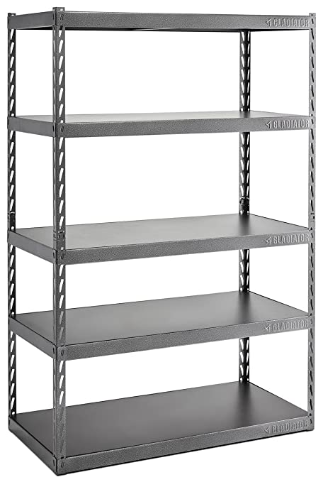 gladiator gark485xgg 48 wide ez connect rack with five 24 deep rh amazon com 24 deep shelving systems 24 deep shelf boards