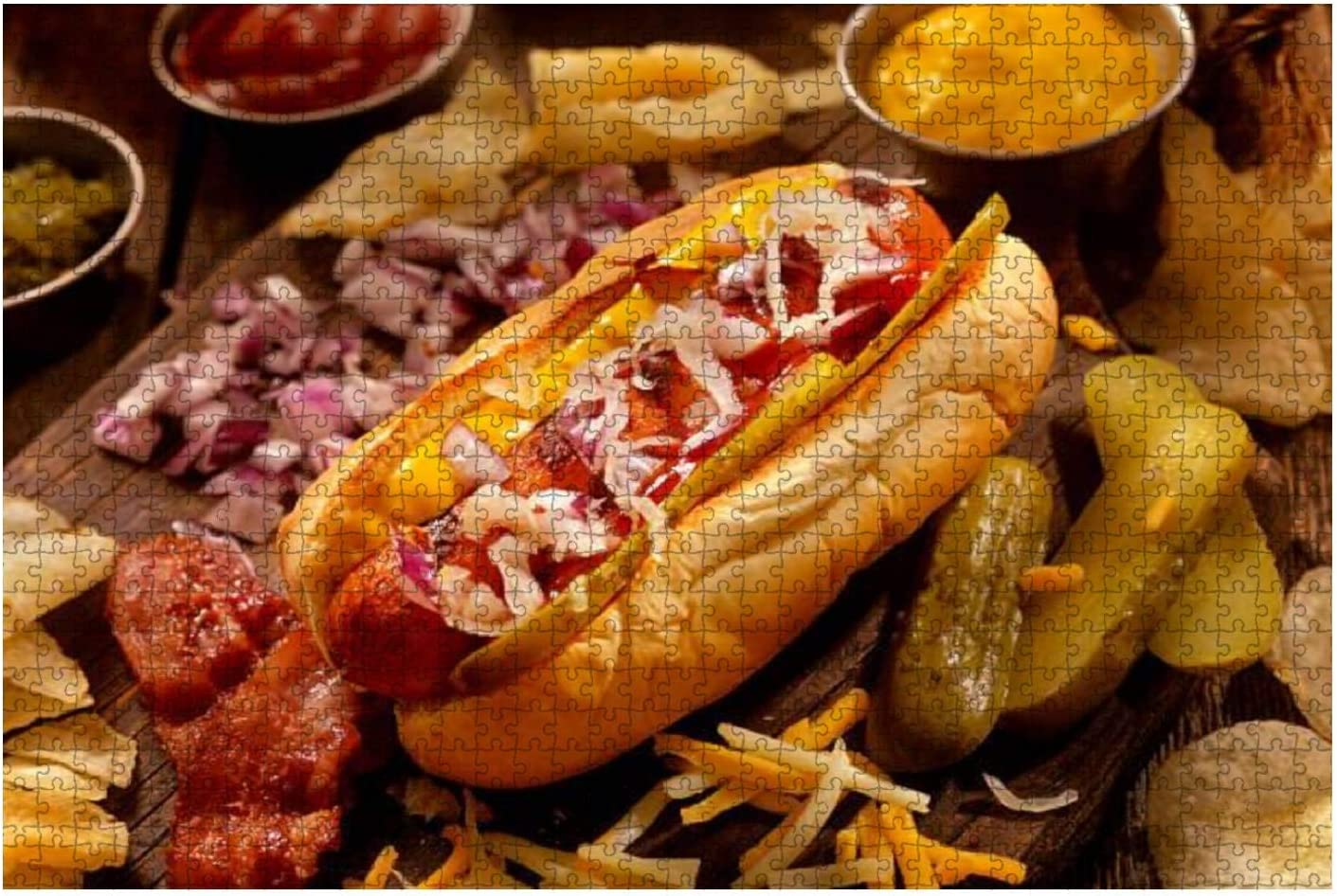 Wooden Puzzle 1000 Pieces hot Dog with All The fixings Junk Food Stock Pictures Royalty Free Jigsaw Puzzles for Children or Adults Educational Toys Decompression Game