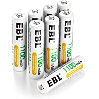 EBL Rechargeable AAA Batteries 1100mAh High Capacity Ni-MH AAA Battery, Pack of 8