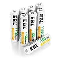 EBL Rechargeable AAA Batteries 1100mAh Ni-MH AAA Battery, Pack of 8