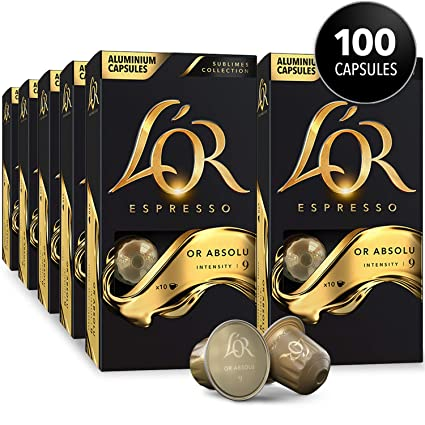 Lor Espresso Pods 100 Capsules Espresso Or Absolu Single Cup Aluminum Coffee Capsules Compatible With Nespresso Original Machine