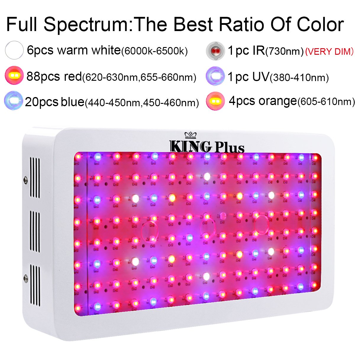 Amazon king plus 1200w led grow light double chips full amazon king plus 1200w led grow light double chips full spectrum with uv and ir for greenhouse indoor plant veg and flower garden outdoor parisarafo Choice Image