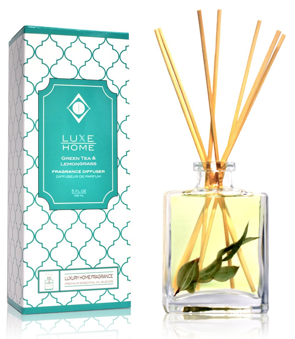 Luxe Home Green Tea & Lemongrass Essential Oil Reed Diffuser | Scent Notes of Valencia Oranges, Lemongrass and Fresh-Cut Greens | Makes a Pretty for The Home