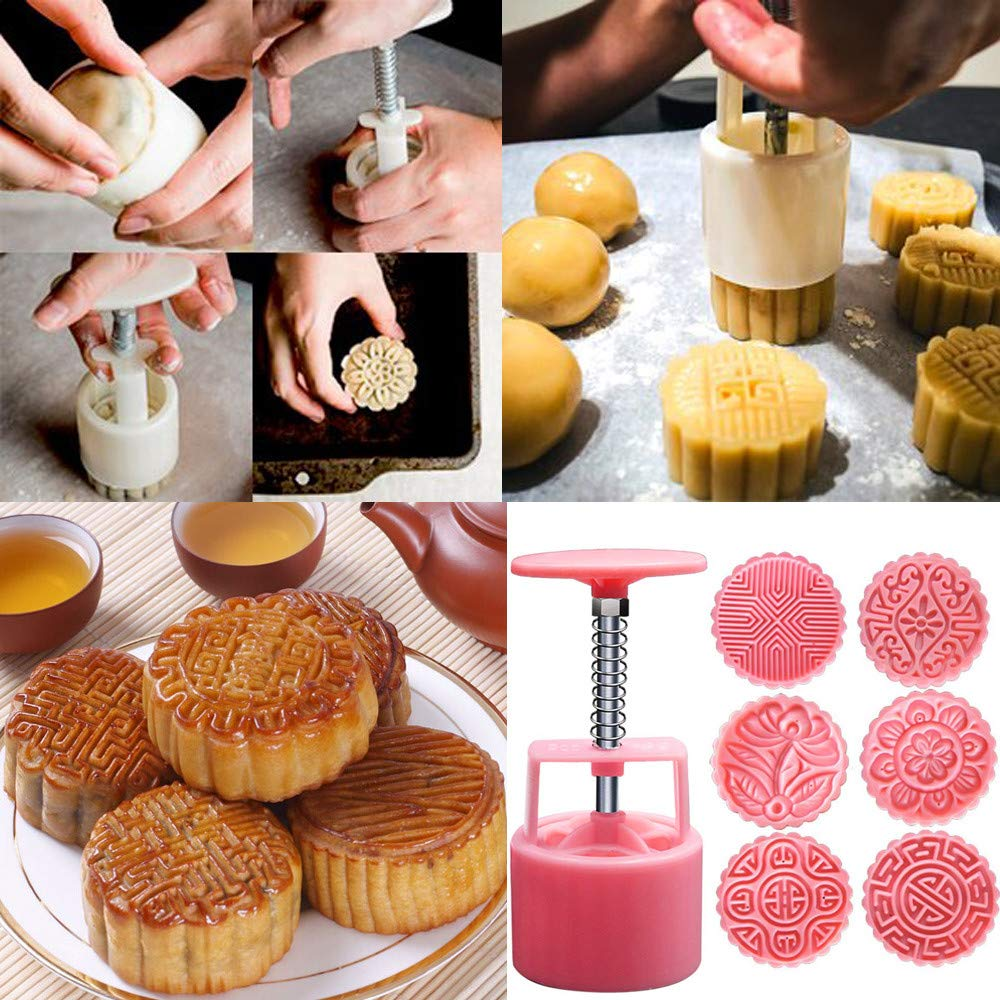 Amaping Plastic Mooncake Maker Machine Mold DIY Tool Kitchen Pastry Making Bake Ware Multicolor