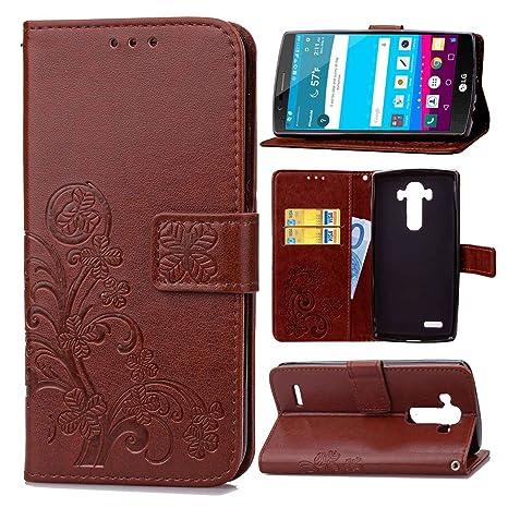 pinlu Funda para LG G4 (5.5pulgada) Alta Calidad Función de Plegado Flip Wallet Case Cover Carcasa Piel PU Billetera Soporte con Trébol de la Suerte ...