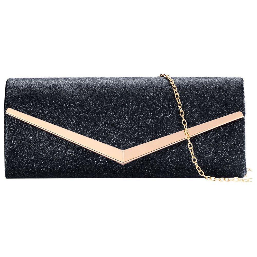 Women Envelope Evening Bag Clutches Bag Handbags Shouder Bags Wedding Purse with Detachable Chain (black)