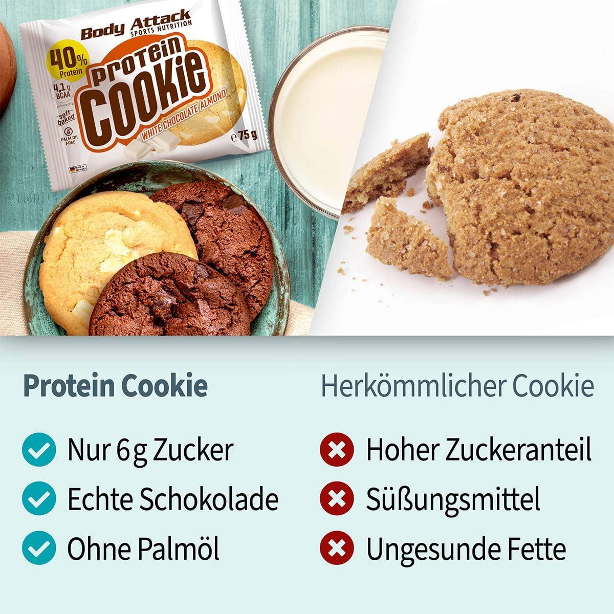 Body Attack Protein Cookie, Kekse einzeln verpackt, Gesunde Snacks mit viel Protein, 12 x 75g (White Chocolate Almond)