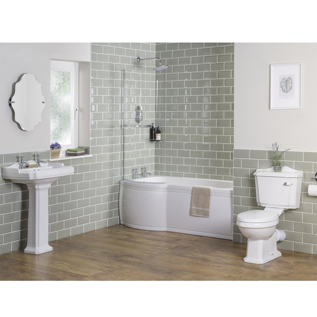 Aquariss Traditional Bathroom Toilet & Sink Basin Cloakroom Suite with Soft Close Seat