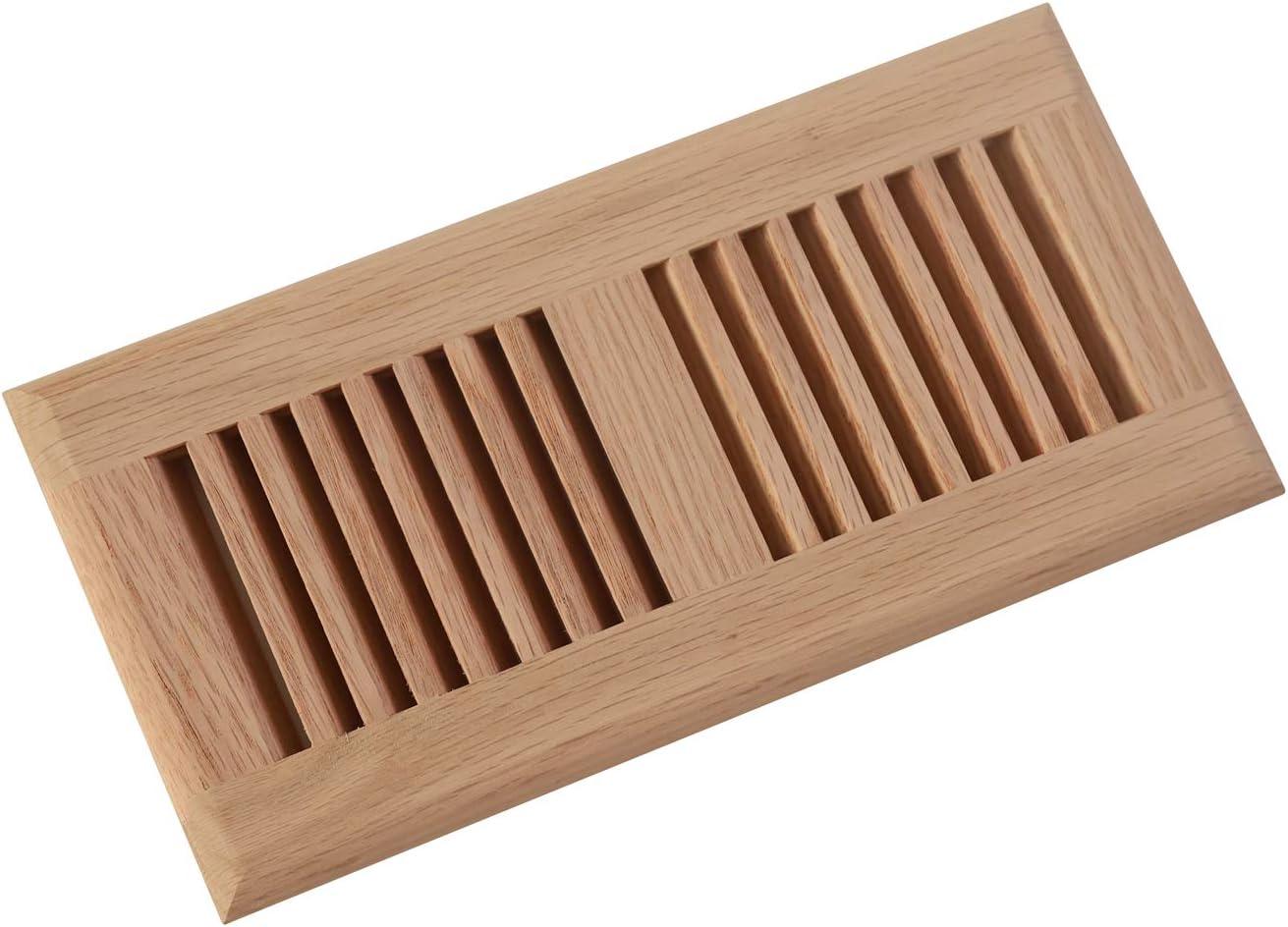 WELLAND 4 Inch x 10 Inch Red Oak Drop in Floor Register,Hardwood Vents Self Rimming,Unfinished.