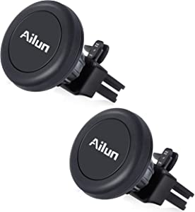 Ailun Car Phone Mount Magnet Key Clip Holder Air Vent Magnetic Holder 2Pack Universal for iPhon11/11 Pro/11 Pro Max/X Xs XR Xs Max Galaxy S10 S9 S8 plus S7 S7 Edge Note 10 Google LG HTC and More Black