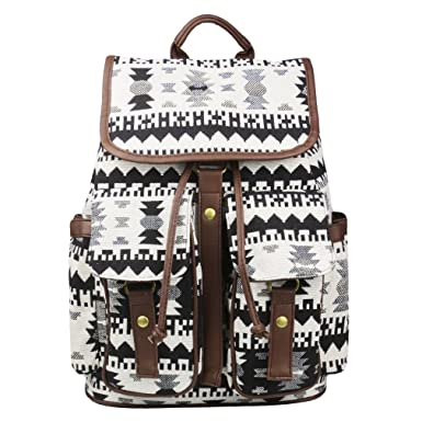Amazon.com | Imiflow Casual Backpacks Print Leather Daypacks ...