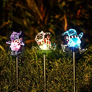 Obell Solar Garden Stake Lights - Set of 3 Chirstmas Lights Color Changing LED Wireless Solar Lights Outdoor Garden Decor for Fence Yard Pathway Flowerbed Driveway (Snowman Figurines)