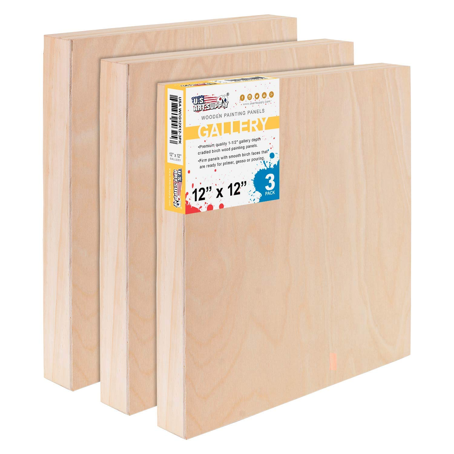 U.S. Art Supply 12'' x 12'' Birch Wood Paint Pouring Panel Boards, Gallery 1-1/2'' Deep Cradle (Pack of 3) - Artist Depth Wooden Wall Canvases - Painting Mixed-Media Craft, Acrylic, Oil, Encaustic