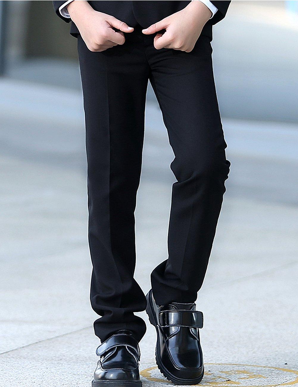 YuanLu Boys Colorful Formal Suits 5 Piece Slim Fit Dresswear Suit Set (Black, 14) by YuanLu (Image #7)
