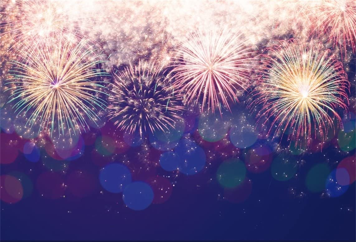Zhy Colorful Fireworks Backdrop Polyester Fabric 7x5ft New Year Display Photos Background Bokeh Backdrop Halos New Year Festival Celebration Fireworks Party New Year Eve Events Props