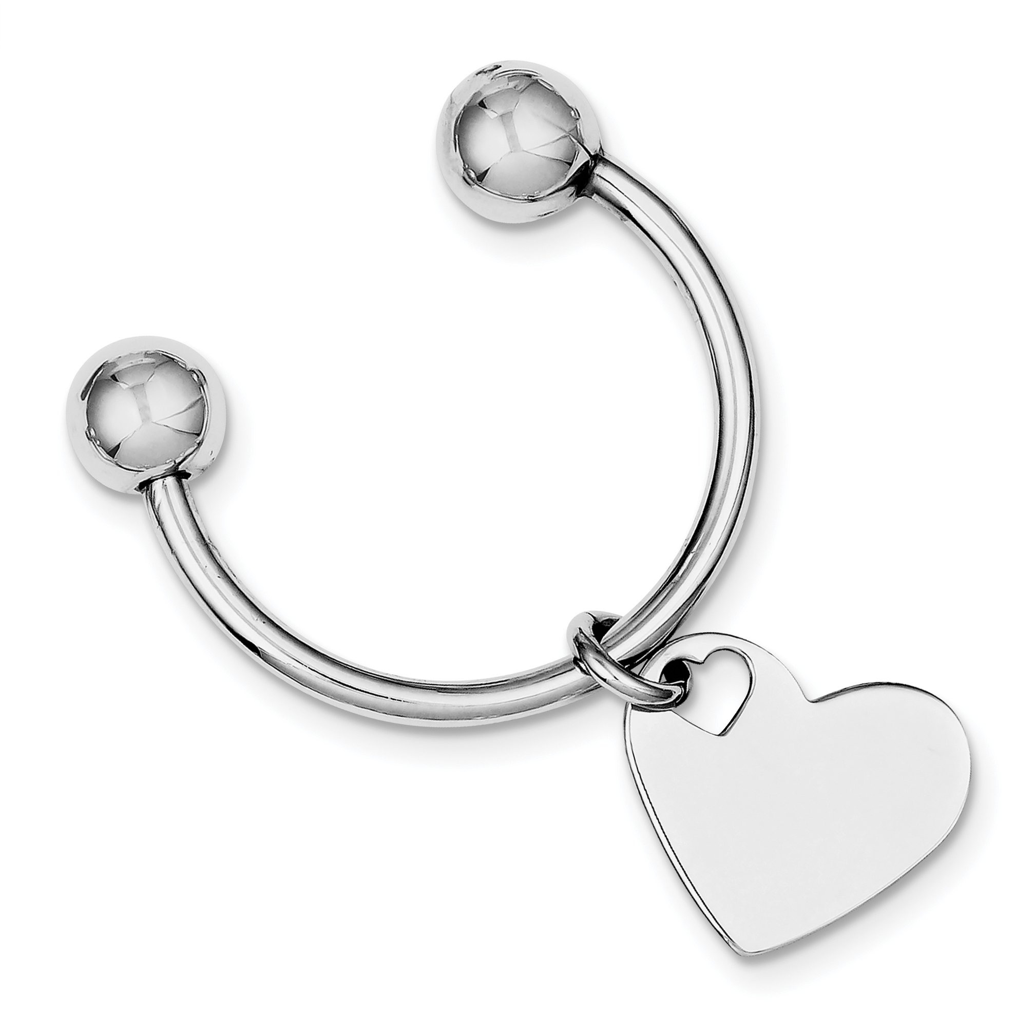 925 Sterling Silver Rhodium Plated Key Chain
