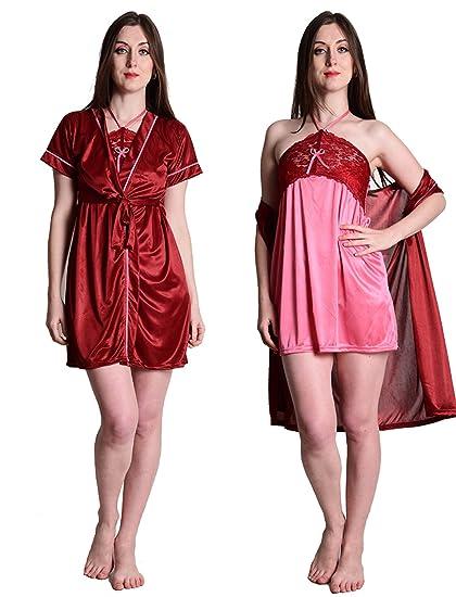 8e5e344861 Senslife Satin Purple Nightwear Sleepwear 2 Pc Set of Nighty   Wrap Gown  SL004 (Maroon   Pink