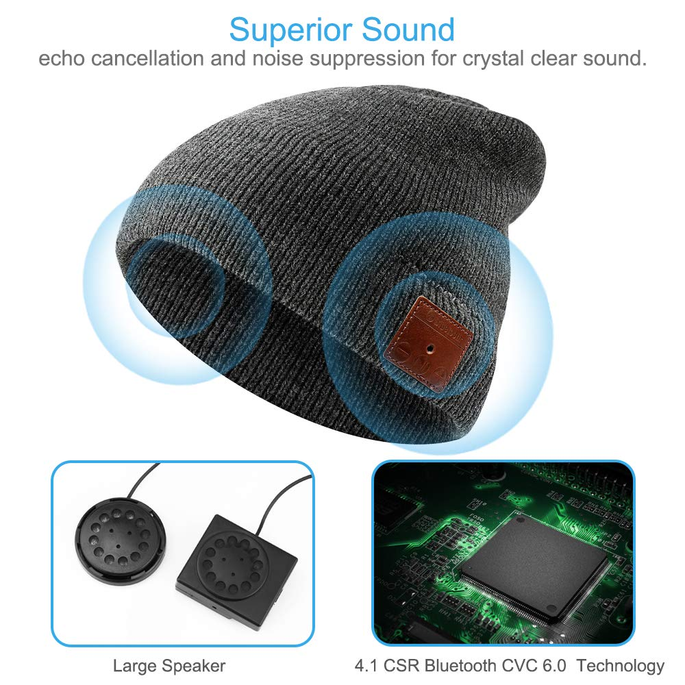 NICEWELL Wireless Bluetooth Beanie Music Hat Bulit in Headphones and Speakers Grey Unisex Unique for Teenagers and Adult