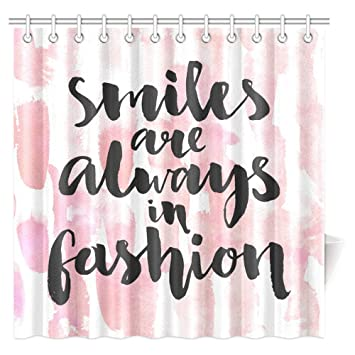 InterestPrint Inspirational Quote Shower Curtain Smiles Are Always In Fashion Handwriting Style On