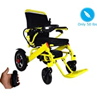 """Fold and Go Travel Lightweight Motorized Electric Power Wheelchair Scooter, Aviation Travel Safe Electric Wheelchair Foldable Heavy Duty Power Wheel Chair (19"""" Seat Width)"""
