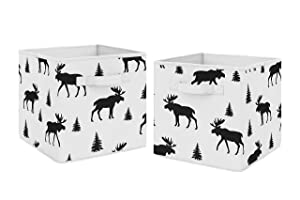 Sweet Jojo Designs Black and White Woodland Moose Organizer Storage Bins for Rustic Patch Collection - Set of 2