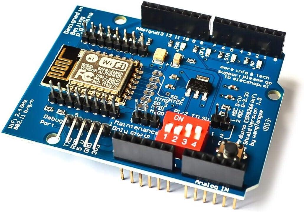 TD-ELECTRO ESP8266 ESP-12 ESP-12E UART WiFi Wireless Shield Development Board for Arduino Mega UNO R3 Module Mega 3.3V 5V TTL Interface one