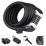 Heavy Duty Bike Lock, High Quality Chain Lock with 5-Digit Resettable Number Combination Cable Lock 6-Feet x 1/2-Inch and 1.35lbs For Bicycle, Scooter, Grills & Other Items That Need To Be Secured - Blusmart