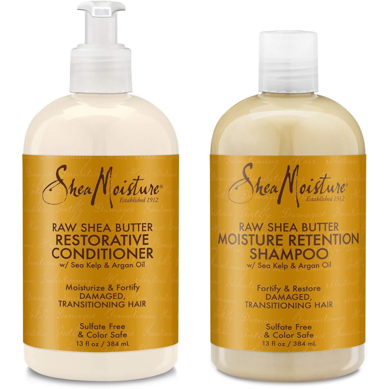 Shea Moisture Raw Shea Butter Restorative Shampoo 13oz and Conditioner Bundle 13oz by Shea Moisture