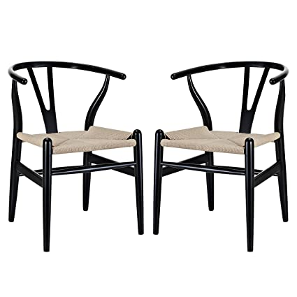Modway Amish Mid-Century Wood Two Kitchen and Dining Room Chairs in Black