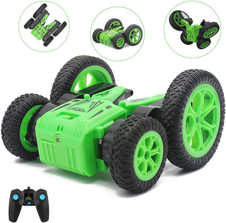 SeeKool Coche Teledirigido,RC Stunt Toy Car with Double Sided 360°Flips 2.4GHz Control Remoto Tracks 4WD Off Road Truck Coches para Niños(Batería Incluye)