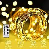 LED イルミネーションライトurlife LEDストリングスライト 100球 10m 8種光るパターン 電池式 防水 フェアリーライト タイム設定付 調光可能 リモコン付属 屋内・屋外兼用 新年 バレンタインデー プレゼント (銅線ウォームホワイト)