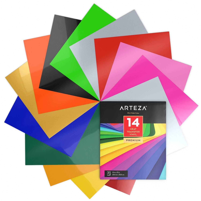 Arteza Papel de vinilo textil imprimible de Hojas de vinilo de papel  transfer para camisetas y tejidos varios (25 853a49b46e21d