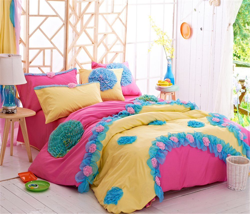 Newrara Home Textile,korean Flower Bedding Sets,luxury Girls Pink Lace Ruffle Bedding Sets,romantic Princess Wedding Bedding Set,girls Fairy Bedding Sets (Bed Skirt Style) by Newrara