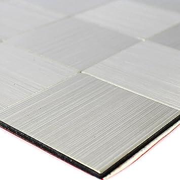 Selbstklebendes Metall Edelstahl Mosaik Fliesen Silber: Amazon.de ...
