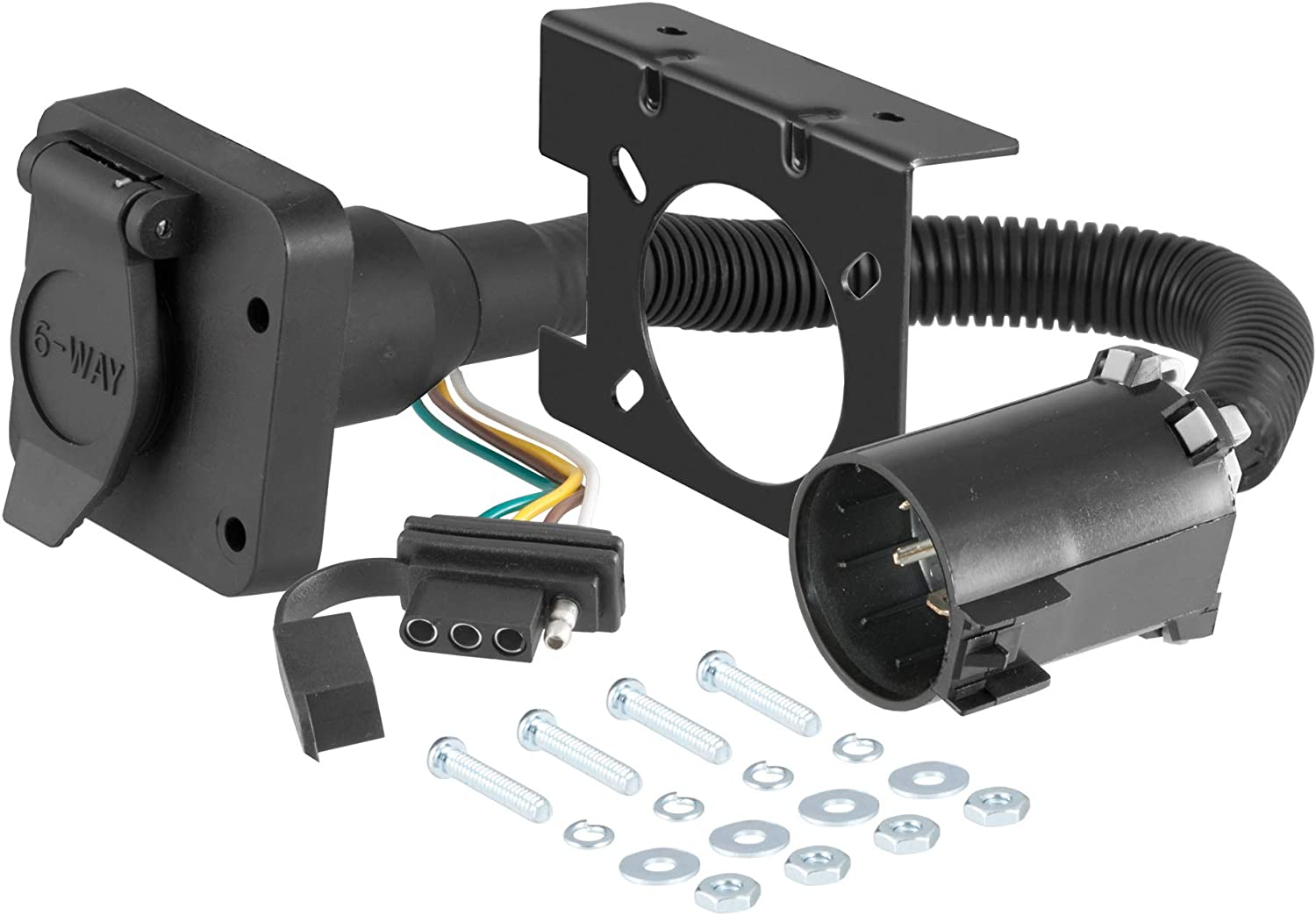 CURT 55664 Dual-Output Vehicle-Side Trailer Wiring Harness Connectors for USCAR, 6-Pin, 4-Pin