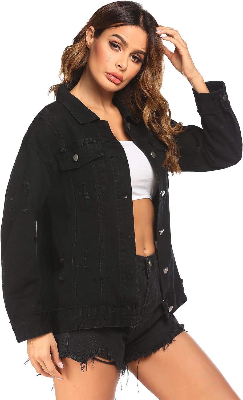 Chainscroll Women Ripped Distressed Casual Long Sleeve Denim Jacket Oversize Denim Jean Jacket Boyfriend Denim Jacket Coat