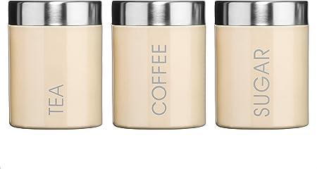 Coffee canister citron vert émail satin couvercle en acier inoxydable