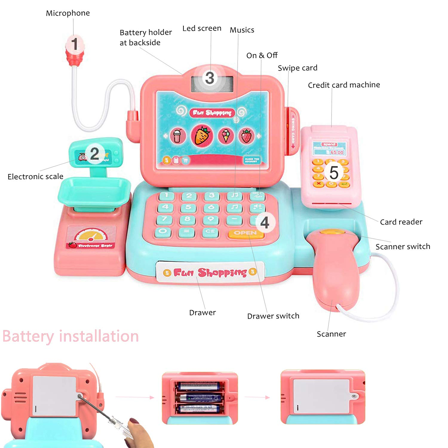 YYoomi Pretend Play Educational Cash Register Toy Classic Counting Toy with Microphone/ Calculator/ Scanner/ Sound/ Music for Kids & Toddlers & Preschoolers by YYoomi (Image #5)